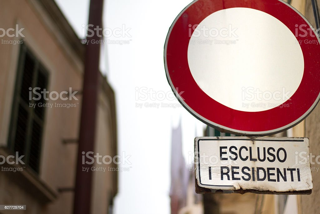'No Vehicles Allowed (Except Residents)' Road Sign, Italy stock photo