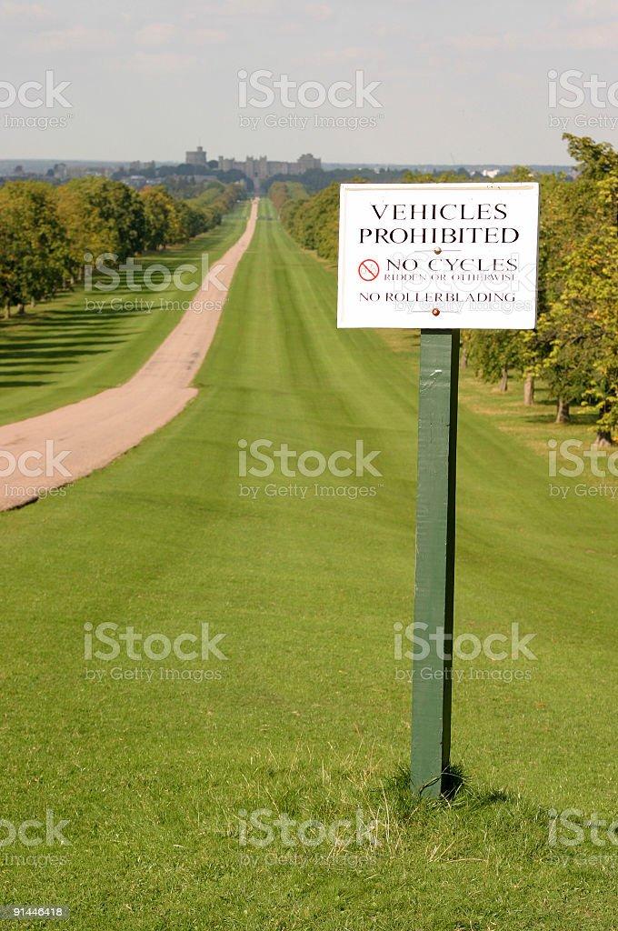 No Vehicles sign stock photo