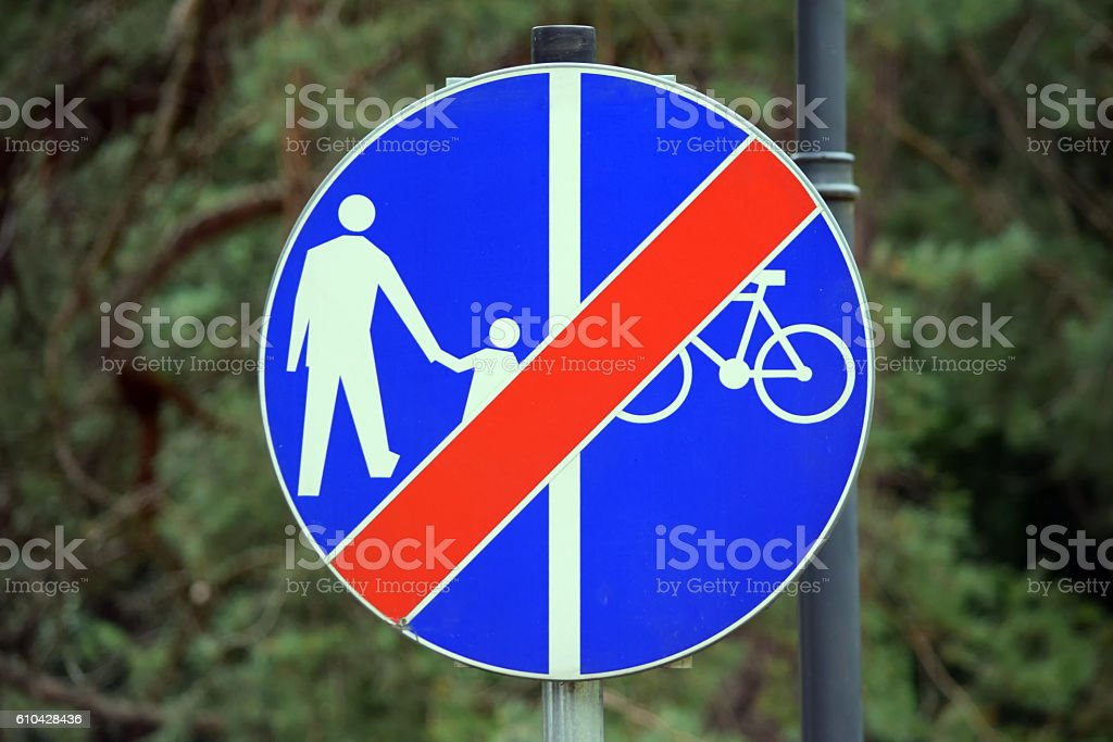 No Walking No Bicycles Sign in Poland stock photo