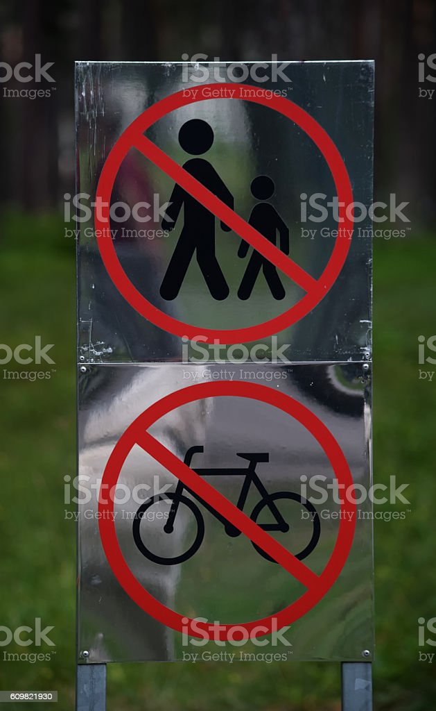 No Walking, No Bicycles Sign stock photo