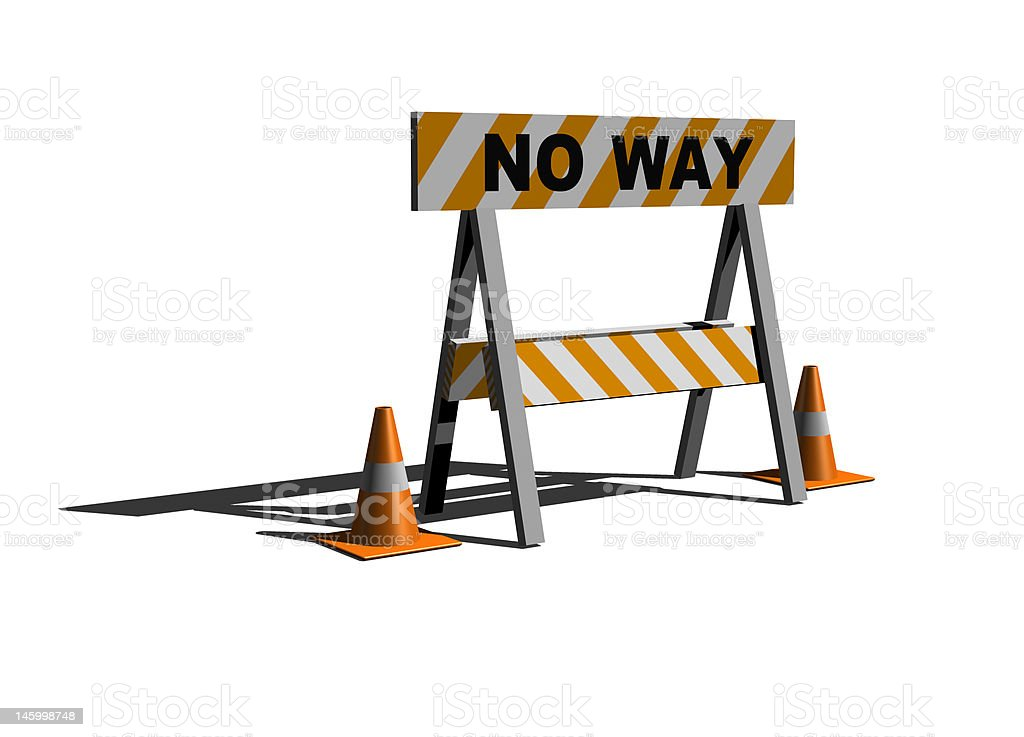 no way! - construction and caution sign stock photo