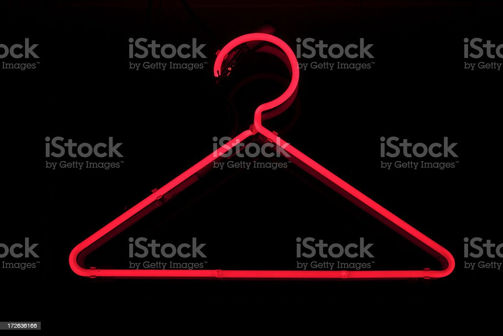 No Wire Coathangers! Red Neon Coat Hanger royalty-free stock photo