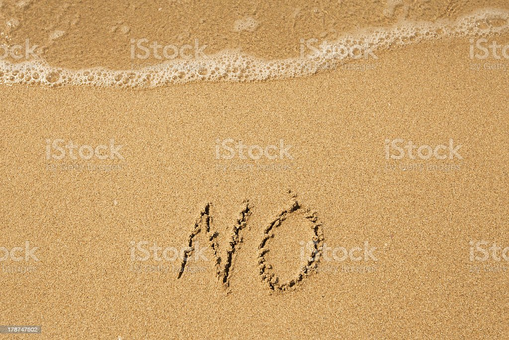 No - written in sand on beach texture royalty-free stock photo