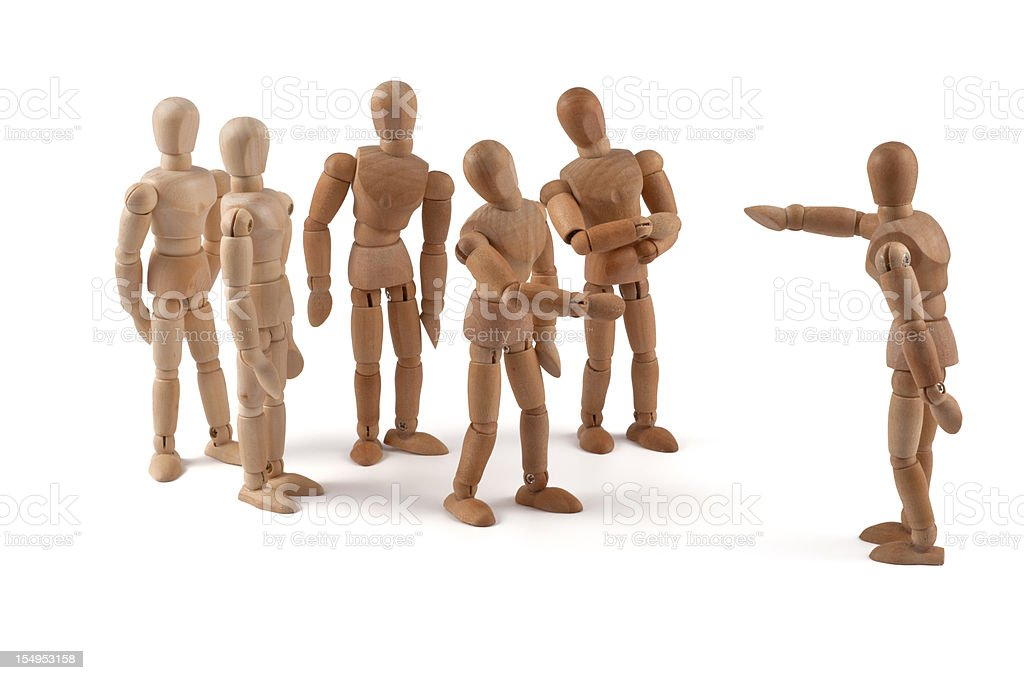 No! You! - wooden mannequin team in discussion royalty-free stock photo