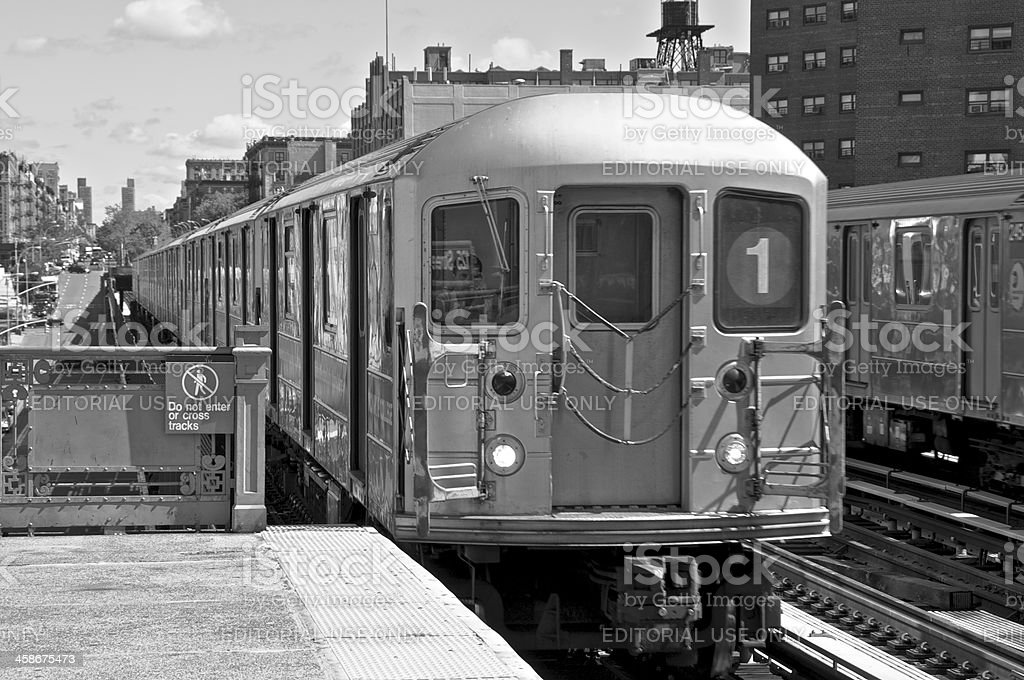 No.1 Subway train at elevated station, W.125th St, NYC stock photo