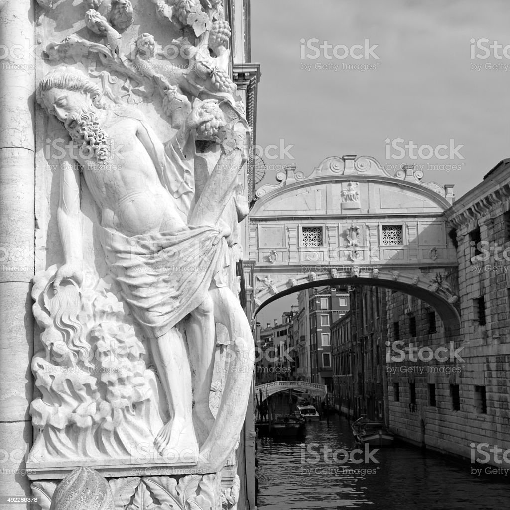 Noah and bridge of sighs in Venice stock photo