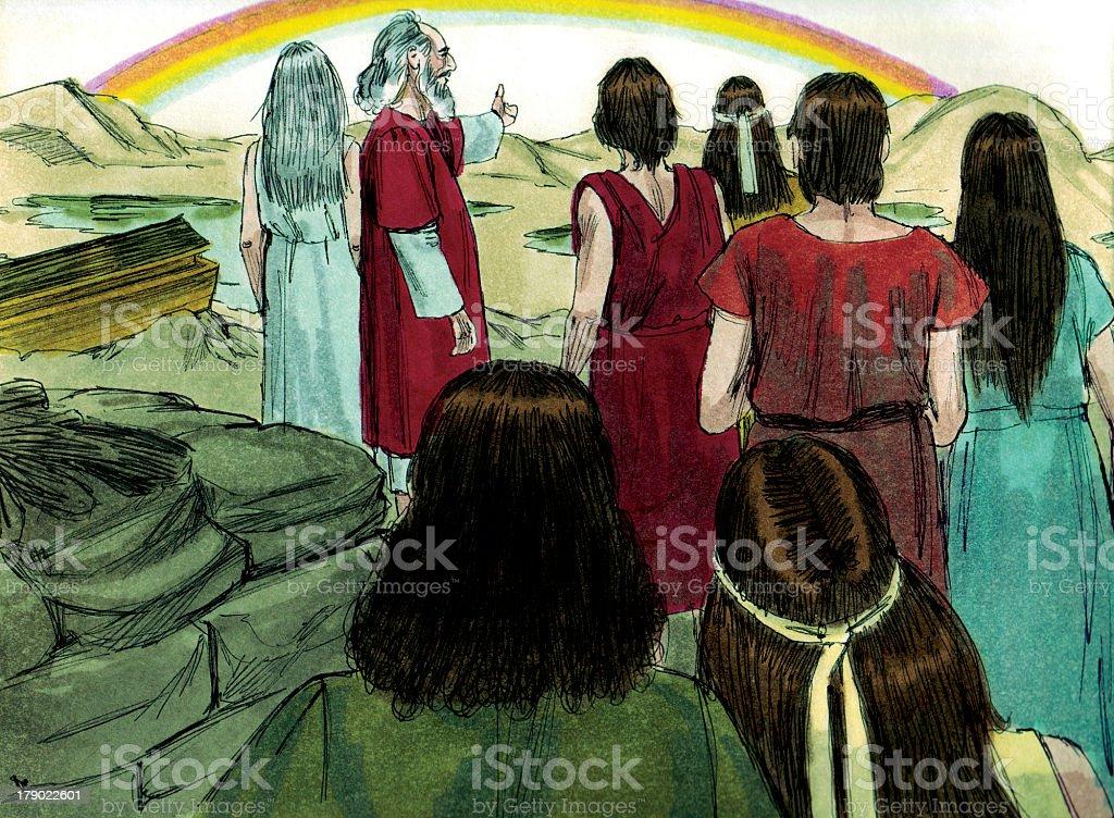 Noah and the Rainbow stock photo