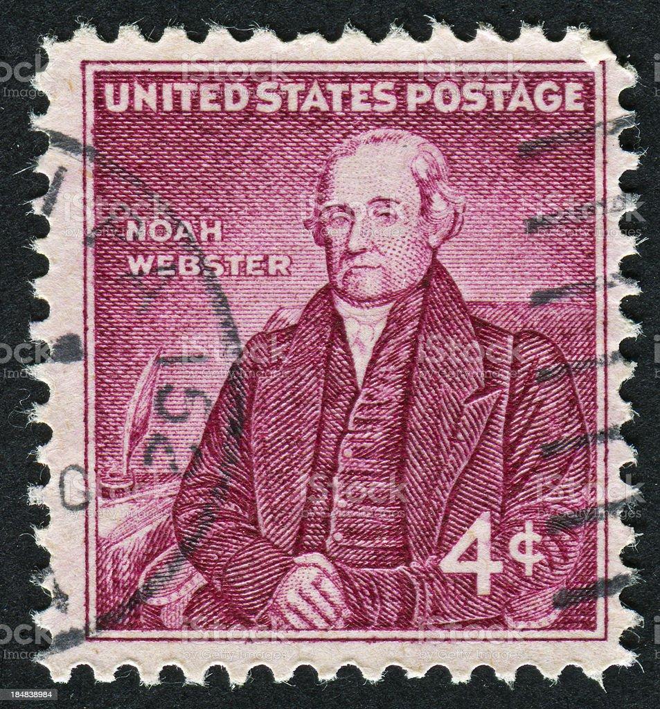 Noah Webster Stamp stock photo