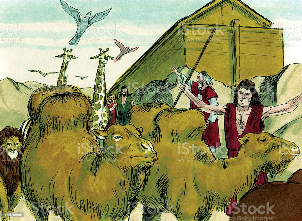 Noah,Ark and the animals stock photo