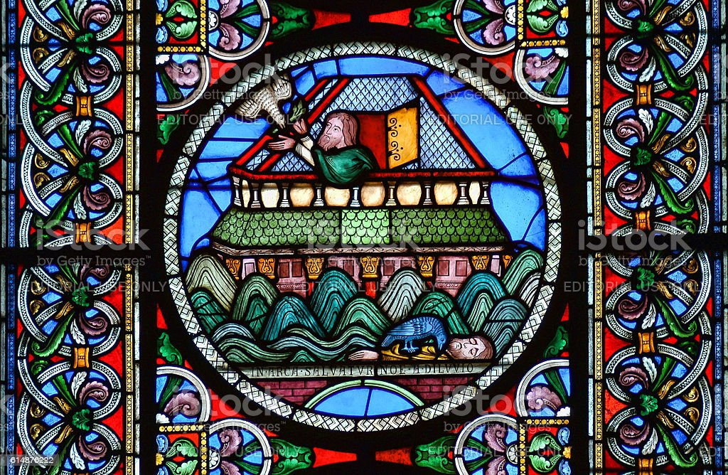 Noahs Ark at sea stained glass window stock photo