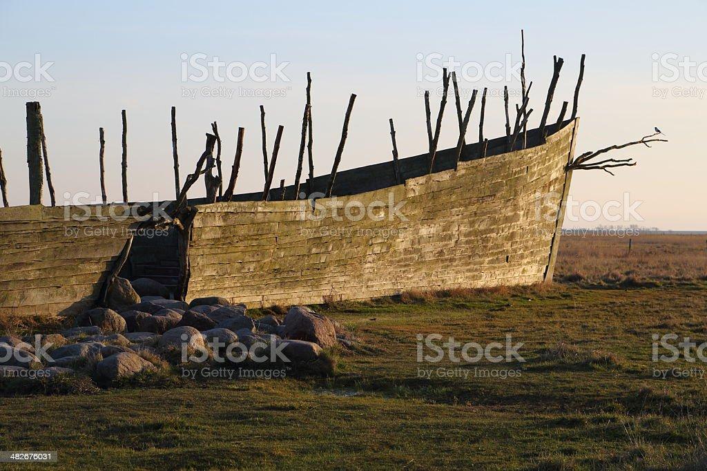 Noah's Ark at sunset stock photo