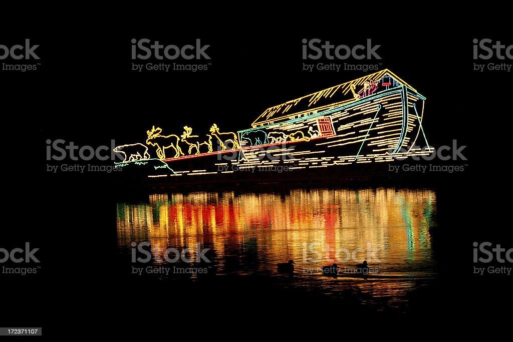 Noah's Ark Christmas Lights royalty-free stock photo