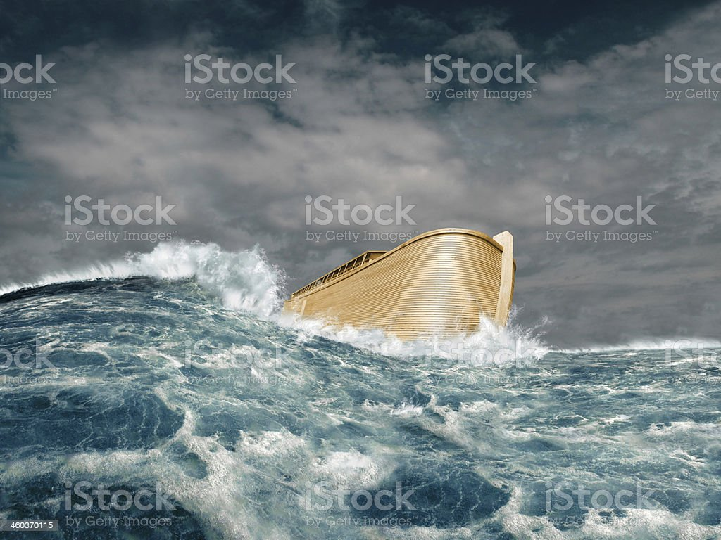 Noah's ark in stormy ocean stock photo
