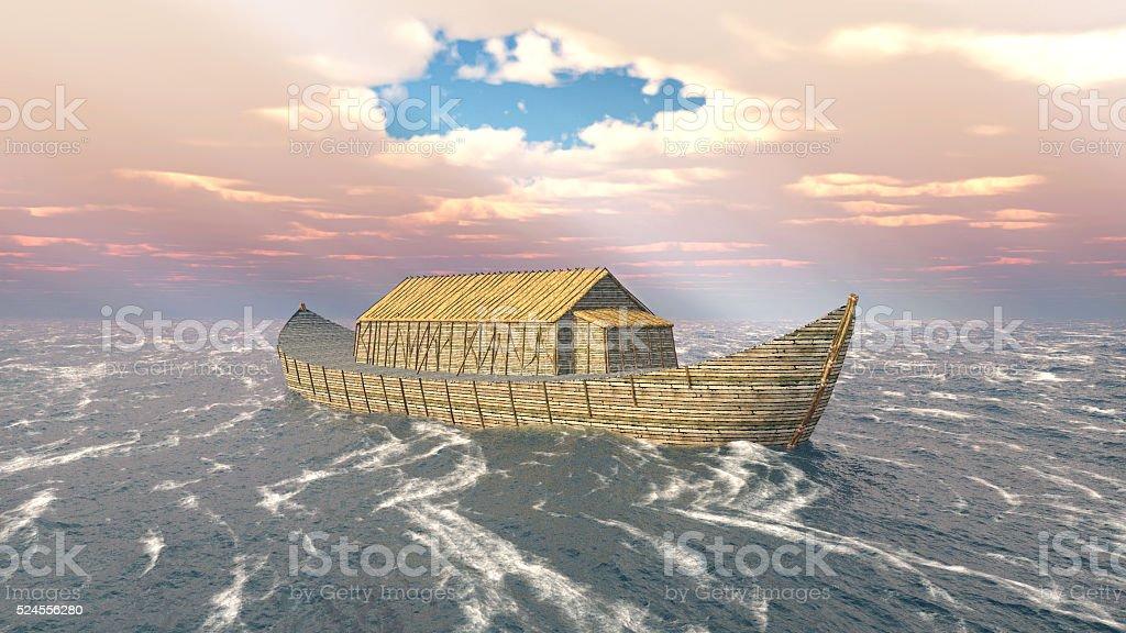 Noah's Ark in the stormy ocean stock photo