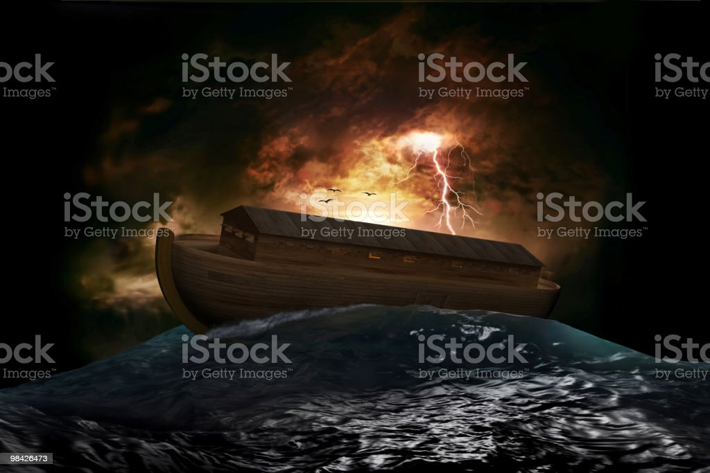 Noah's ark on a stormy ocean with lightening behind it stock photo