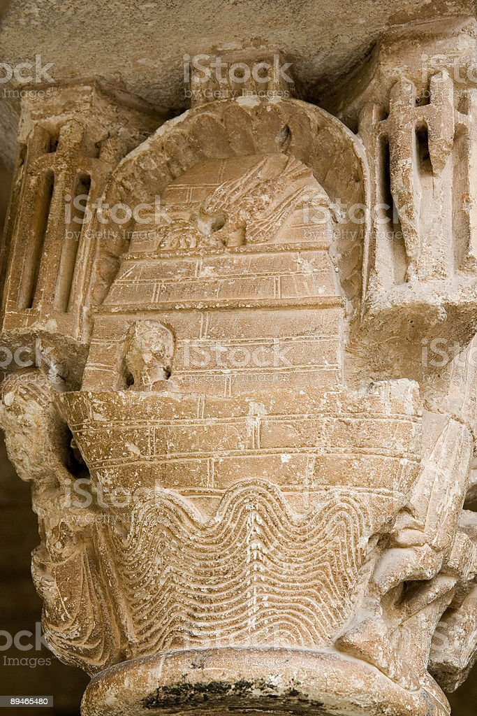 Noah's Ark. Romanesque capital royalty-free stock photo