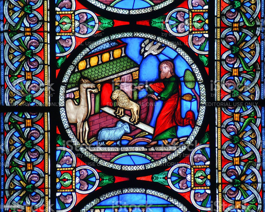 Noahs Ark stained glass window stock photo