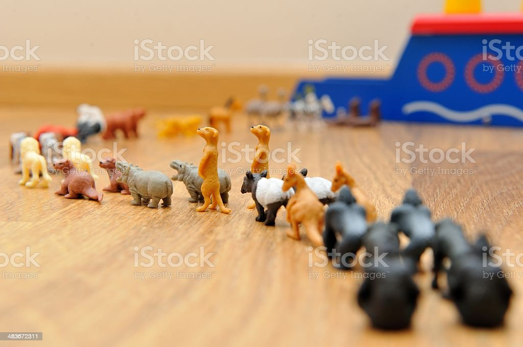 Noah's Ark with animals from toys stock photo