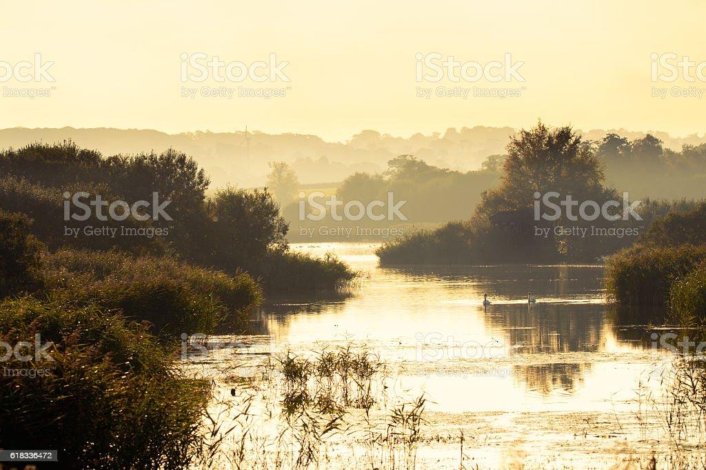 Noah's lake at Shapwick Heath National Nature Reserve stock photo