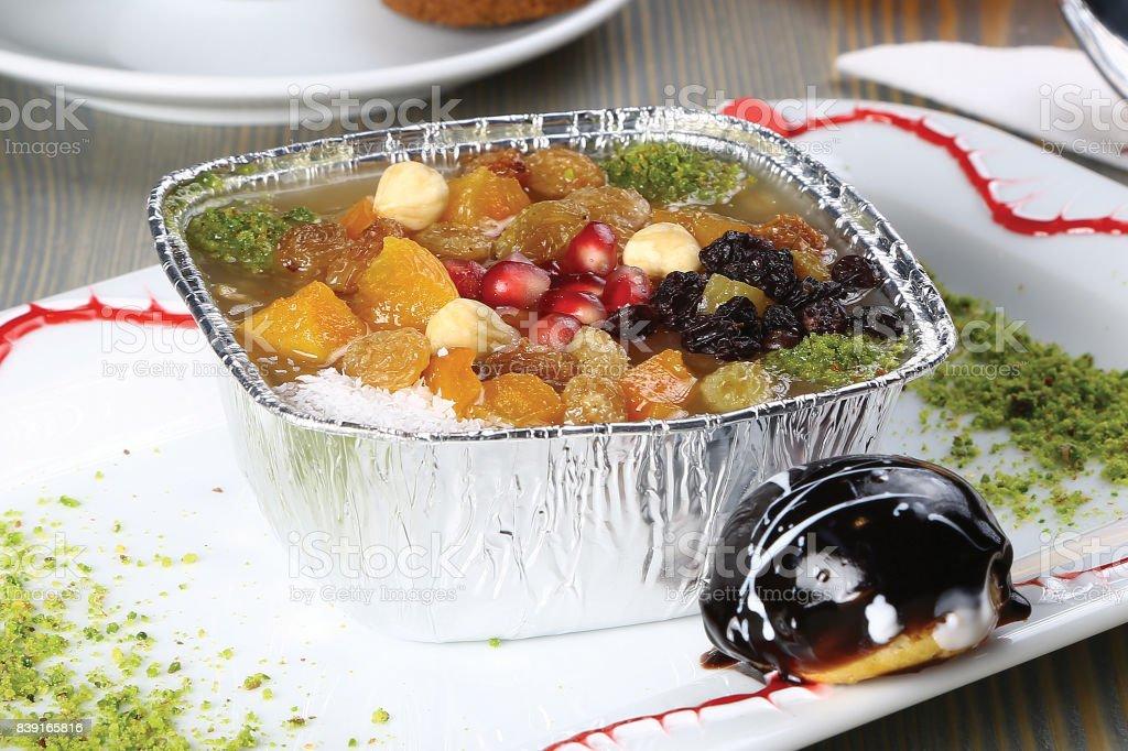 Noah's Pudding is a Turkish dessert stock photo
