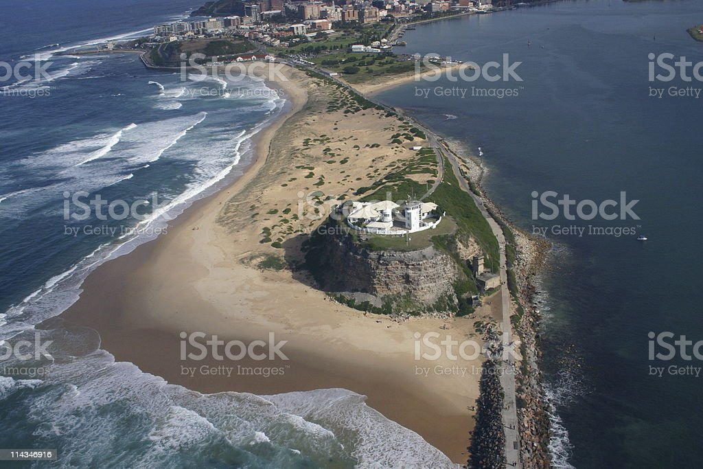 Nobbys Lighthouse from the air royalty-free stock photo
