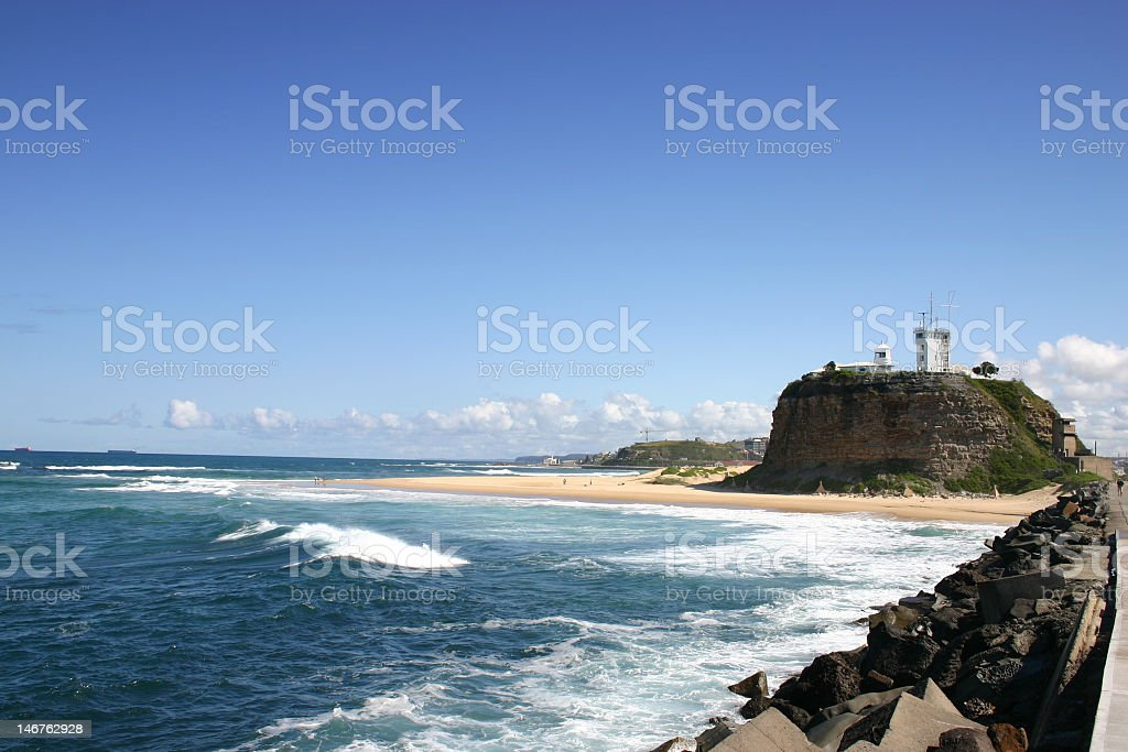 Nobby's Lighthouse in Newcastle, Australia stock photo