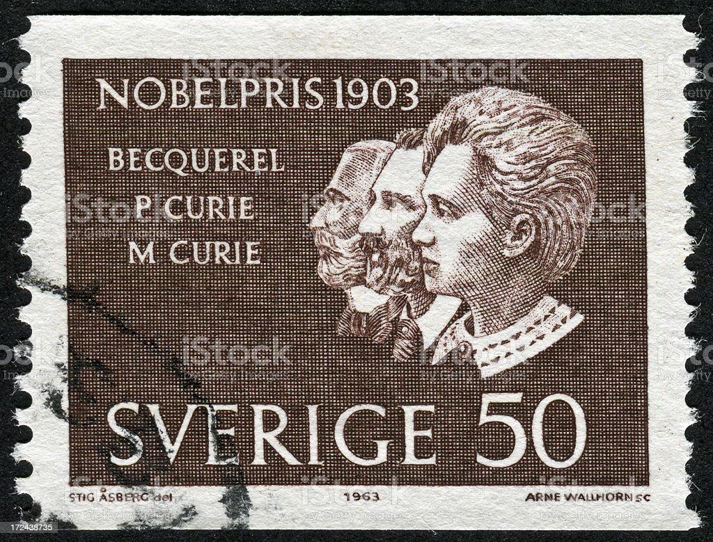Nobel Prize From 1903 Stamp stock photo