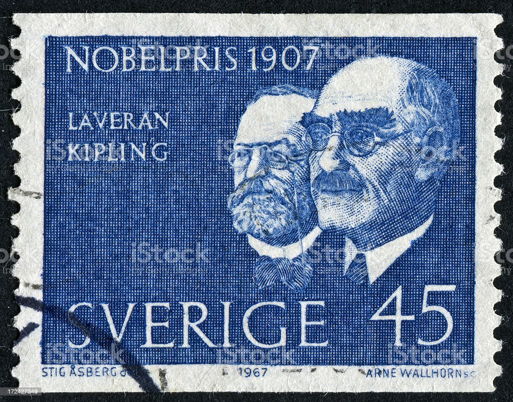 Nobel Prize From 1907 Stamp stock photo