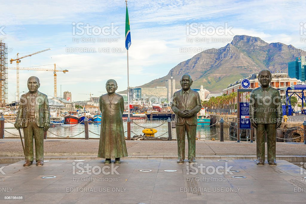 Nobel Square at waterfront in Cape Town stock photo