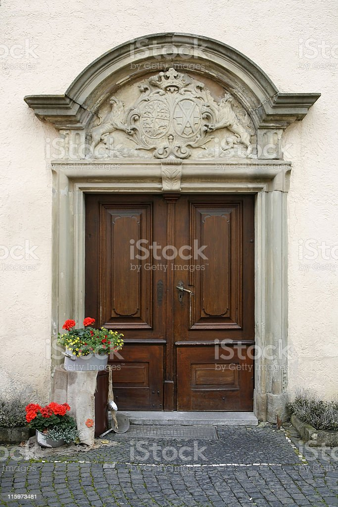 noble decorated entrance door royalty-free stock photo
