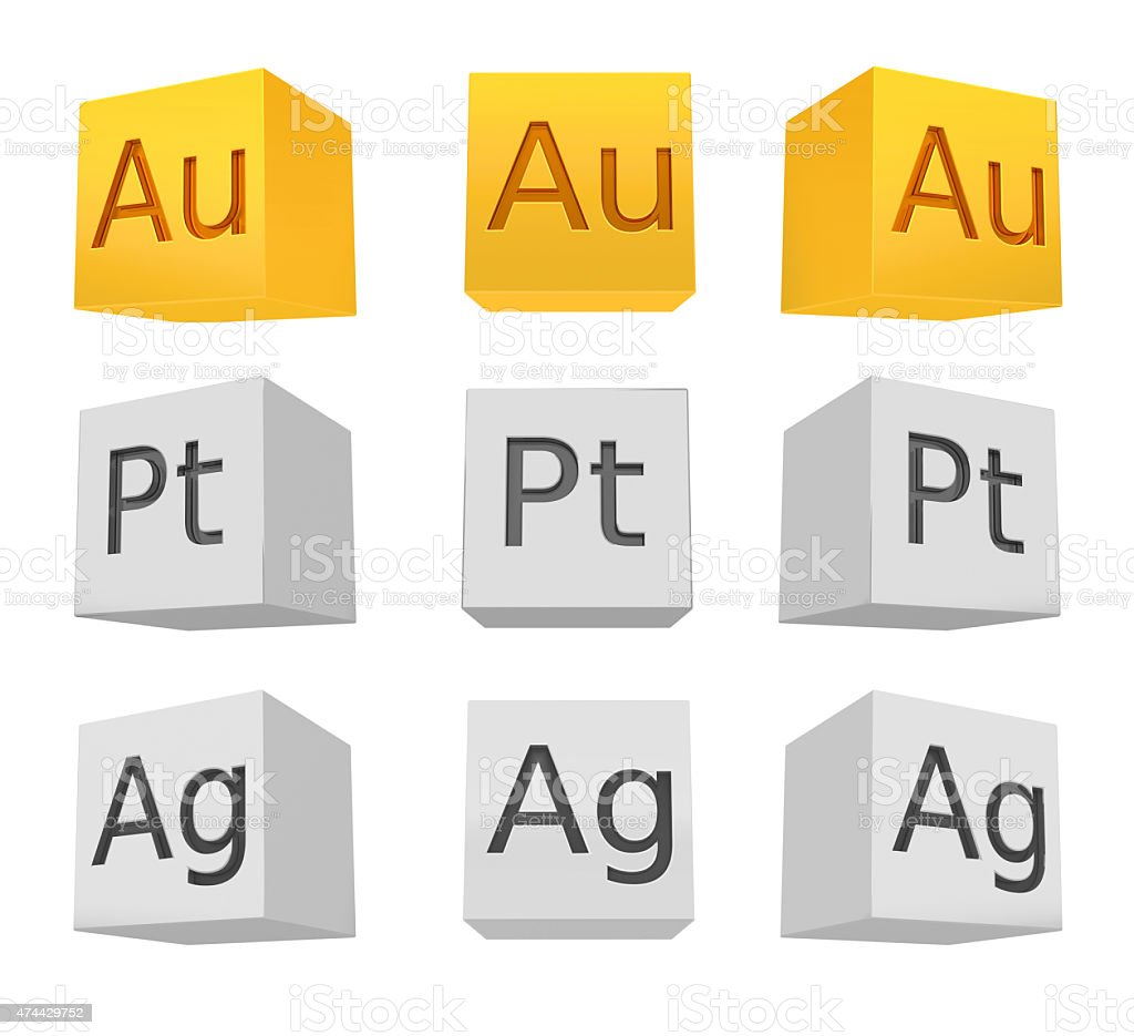 Noble metal cube set; gold; silver; platinum stock photo