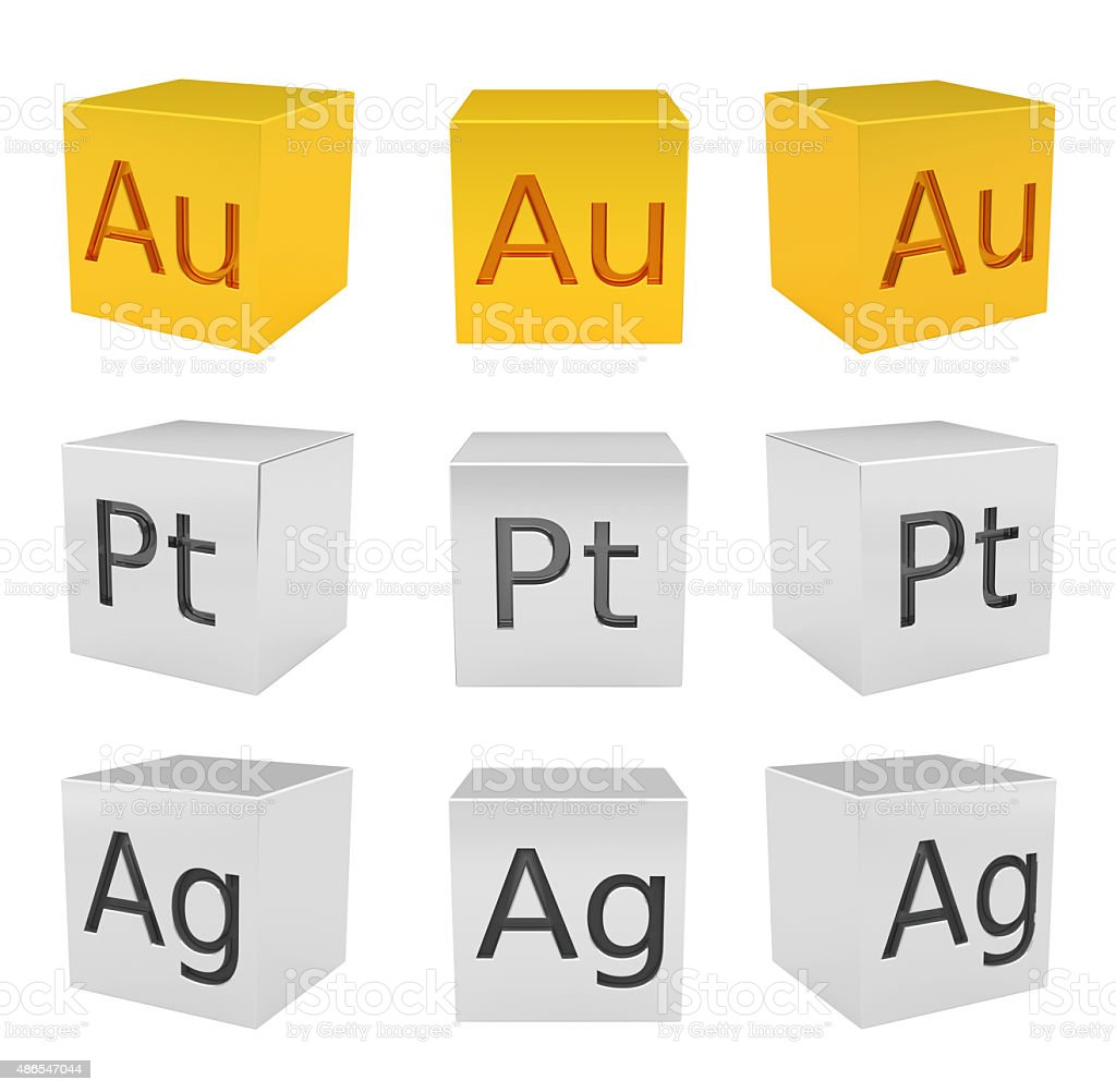 Noble metal cubes, gold, silver, platinum stock photo