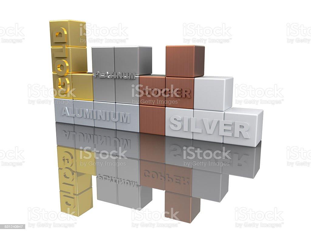 Noble Metals 3D Tetris Concept I stock photo
