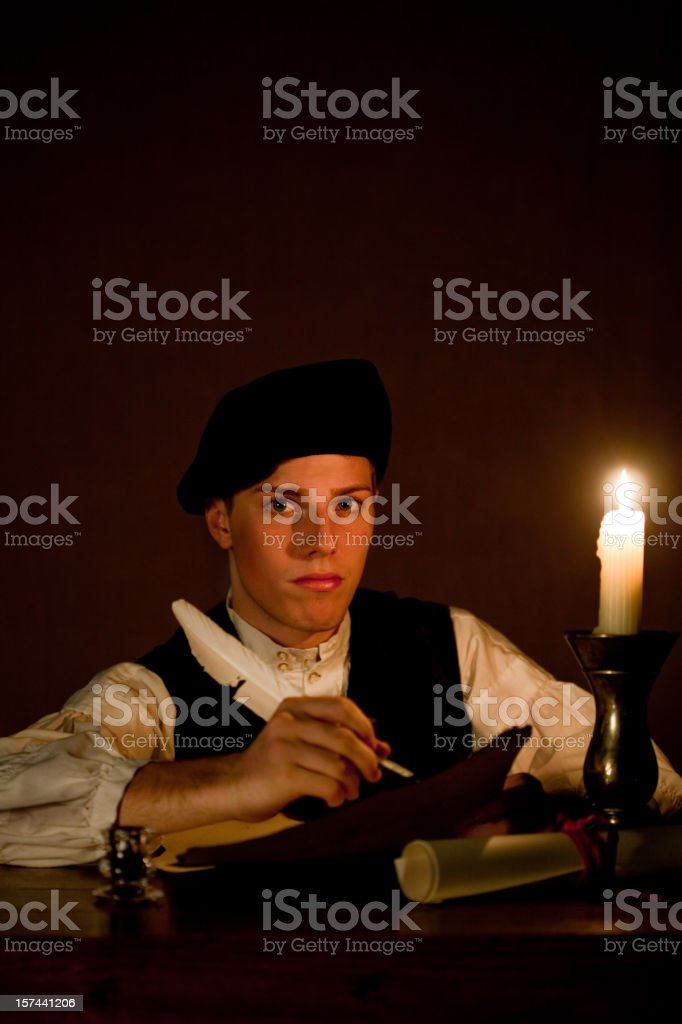 Nobleman Working by Candle Light royalty-free stock photo
