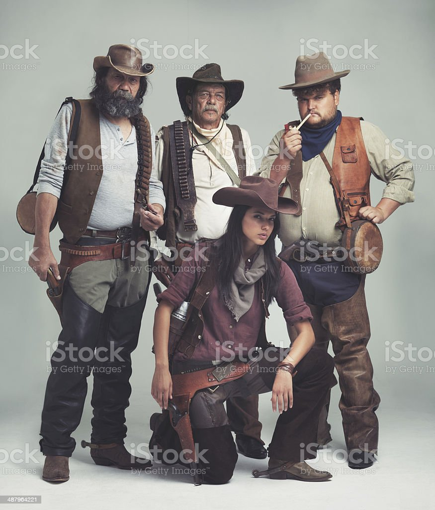 Nobody ever asked how she got in the gang... stock photo