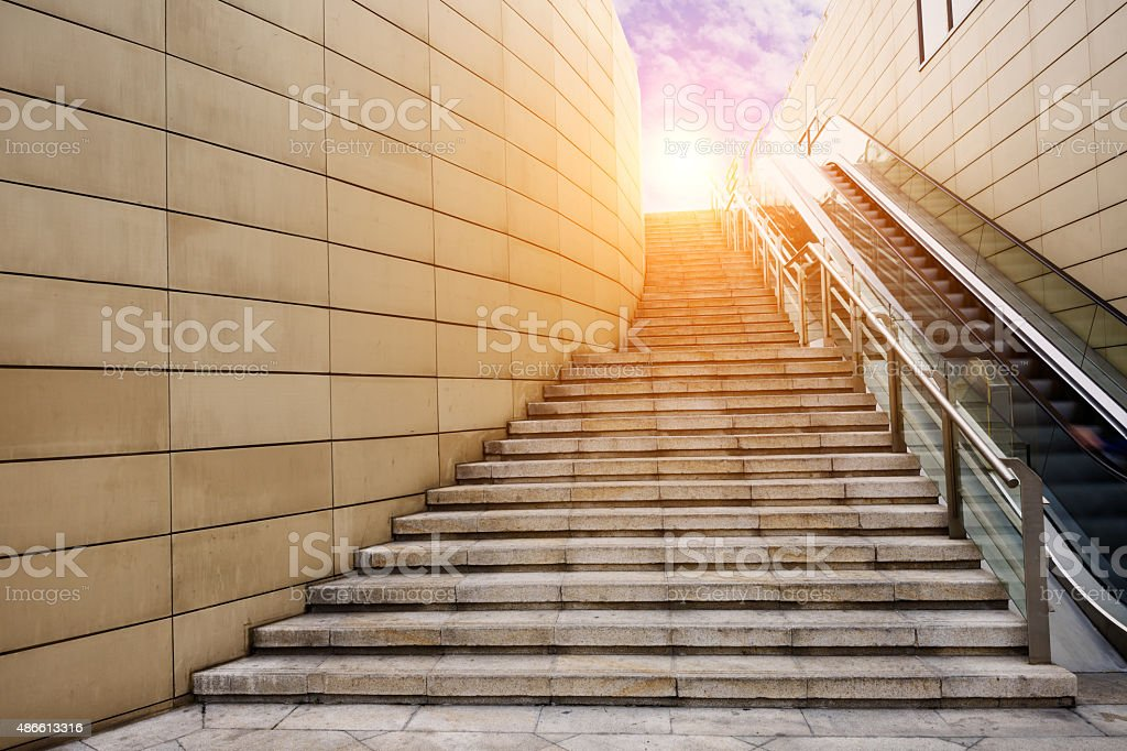 nobody of the stairs walkway stock photo