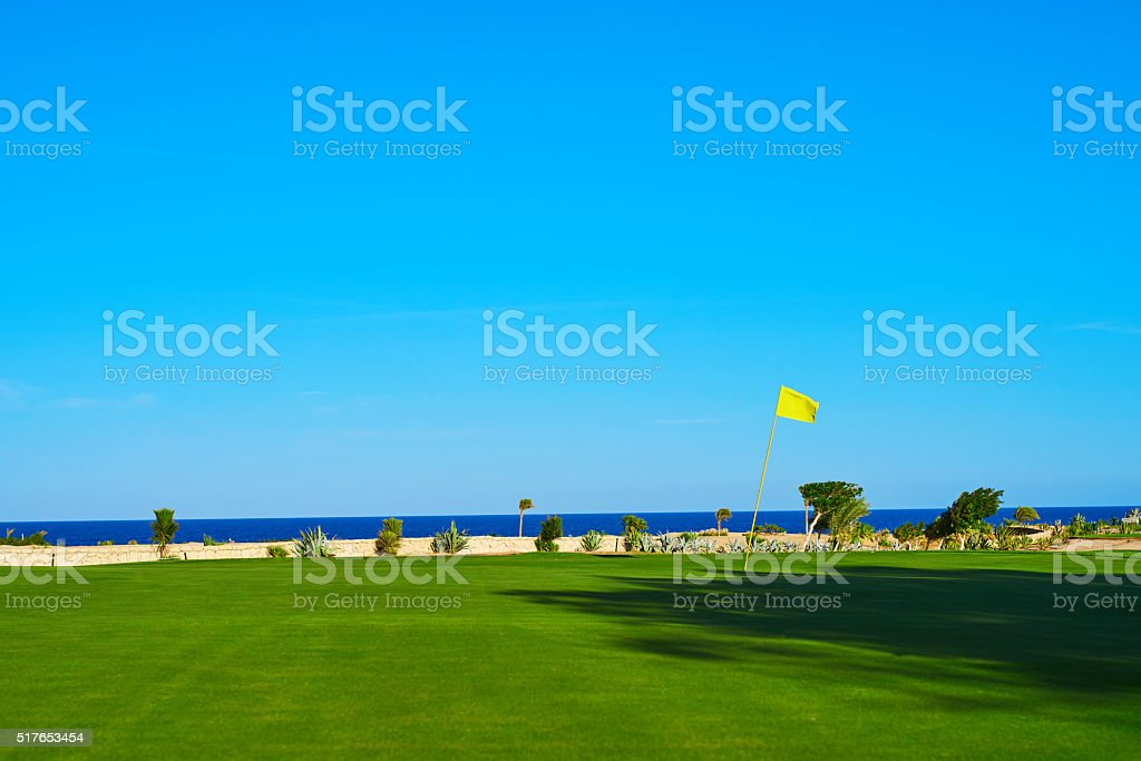 nobody on the golf course stock photo