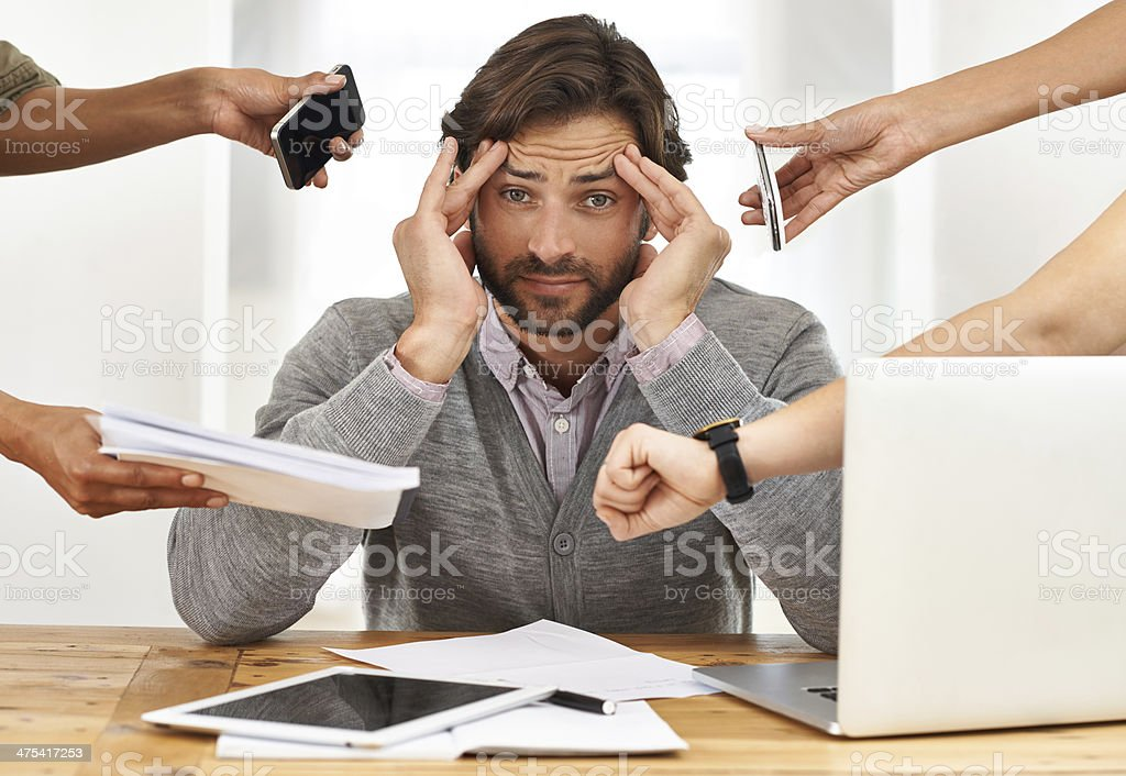Nobody thought of bringing a headache pill to the party? stock photo