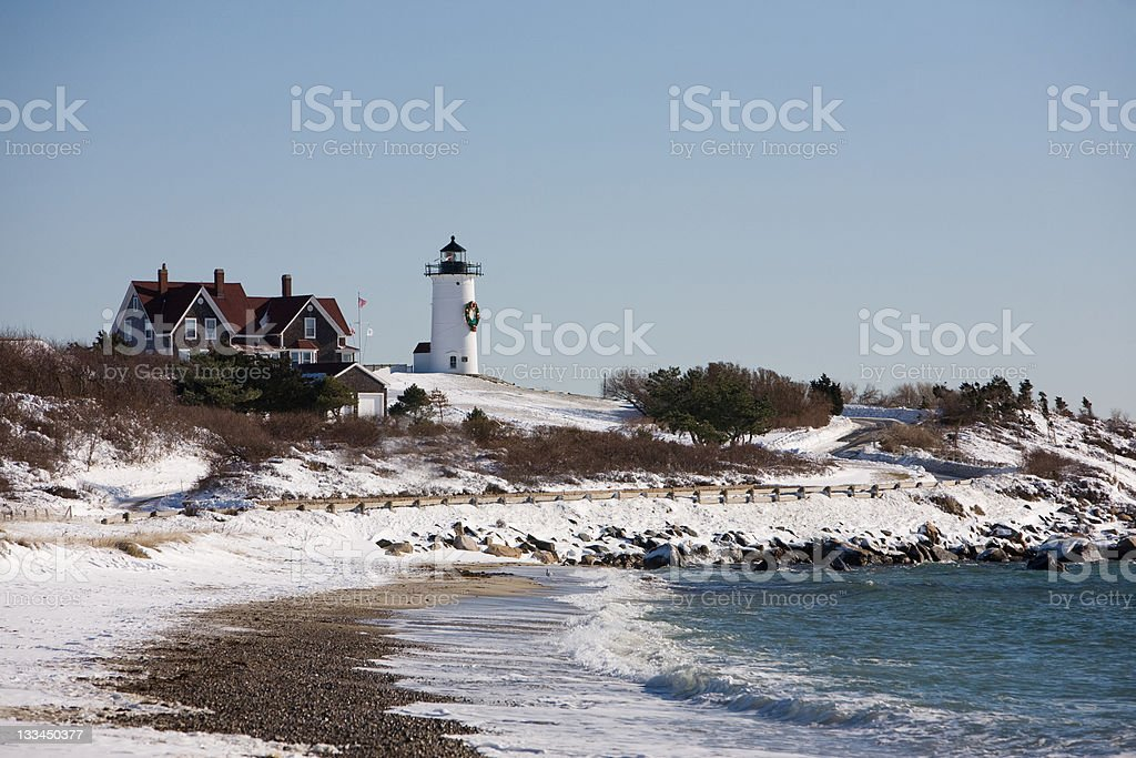 Nobska Lighthouse in Winter royalty-free stock photo