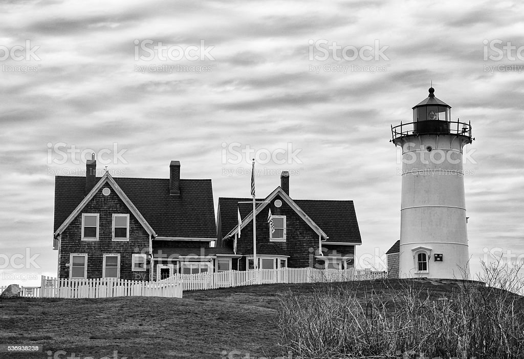 Nobska Point Lighthouse in Black and White stock photo