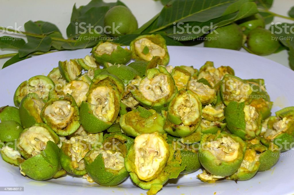 Noci fresche aperte,Fresh walnut stock photo