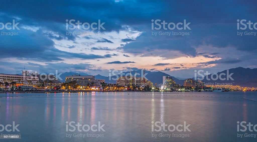 Nocturnal view on central beach of Eilat stock photo