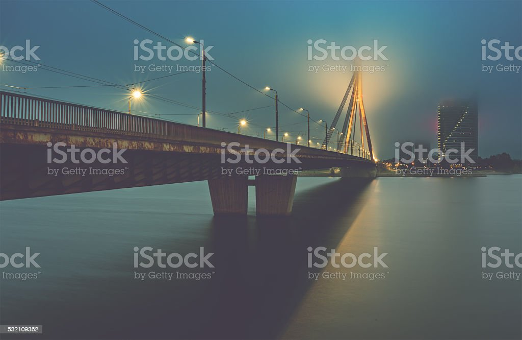 Nocturnal view on city of Riga stock photo