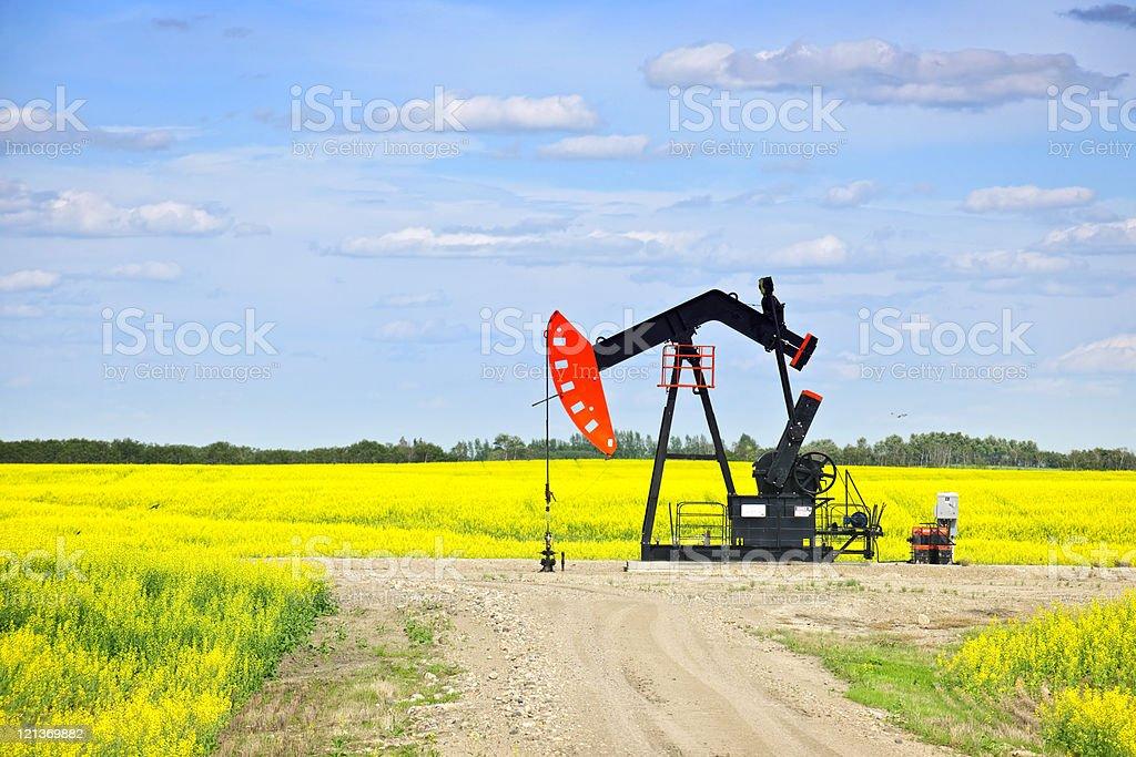 Nodding oil pump in prairies stock photo