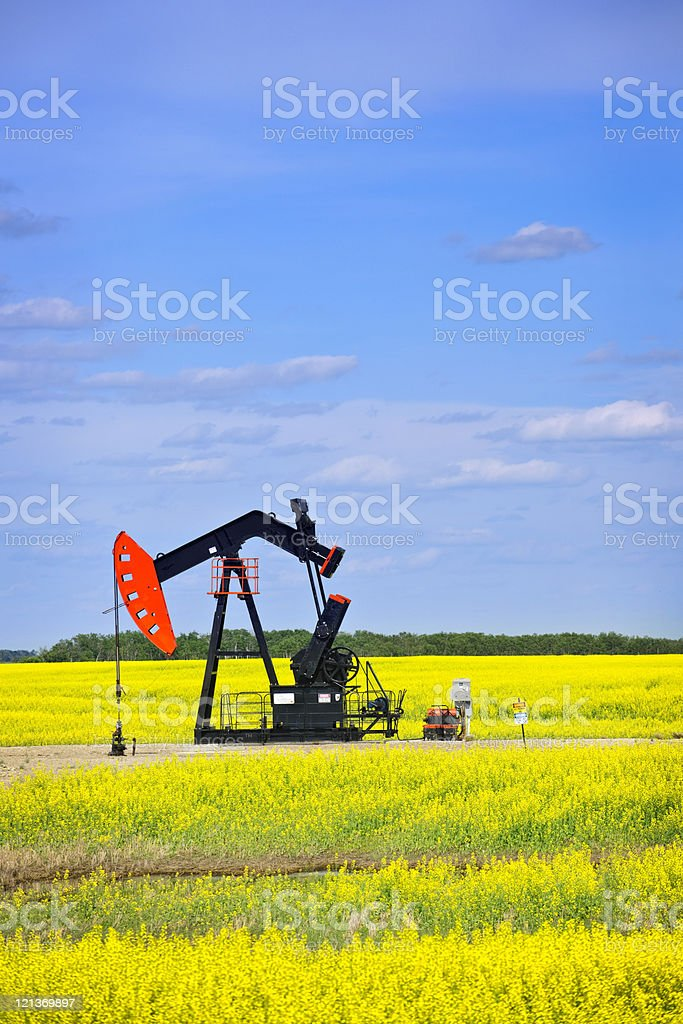 Nodding oil pump in prairies royalty-free stock photo