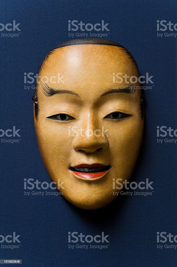 Noh mask-Wakaotoko stock photo