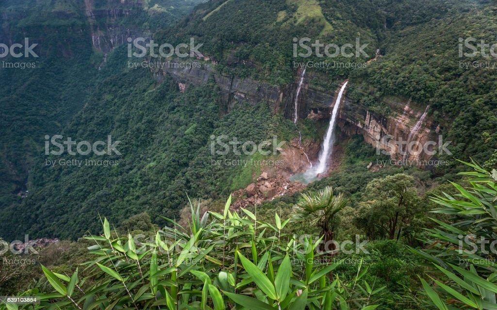 Nohkalikai waterfalls, Cherrapunji, Methalaya, India. stock photo