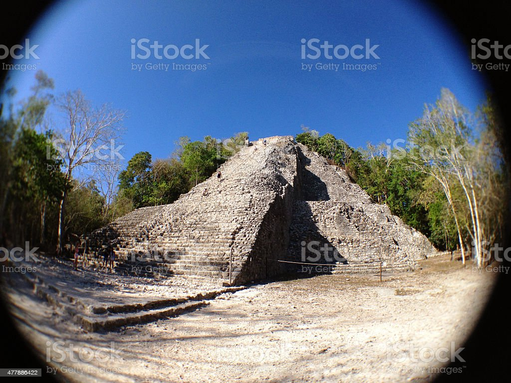 Nohoch Mul Pyramid, Cob?, Mexico stock photo