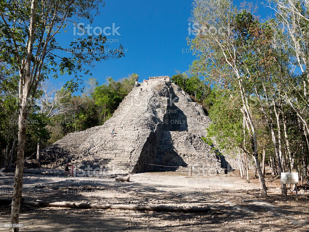 Nohoch Mul Pyramid, Cobá, Mexico stock photo