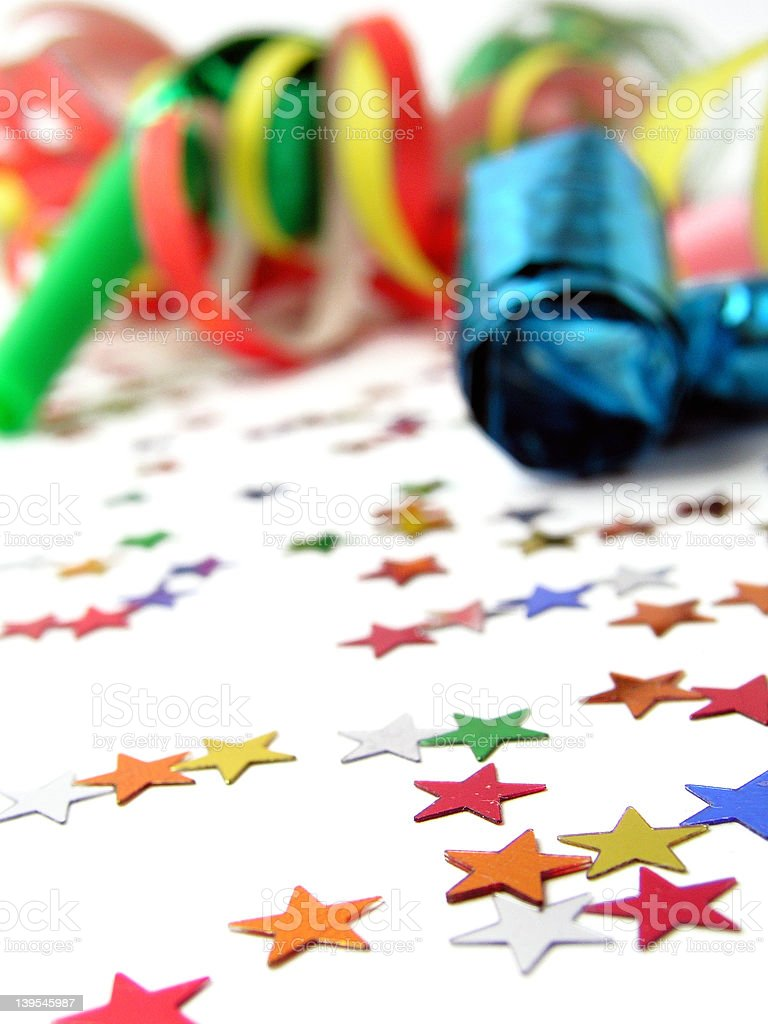 Noicemakers, Streamers and Confetti royalty-free stock photo